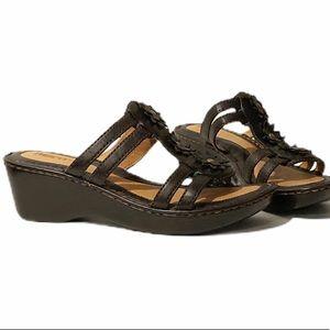 Born Black Leather Flower Wedge Slip On Sandal